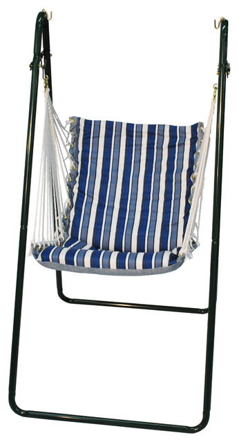 Swing Chair and Stand Combination, Tropical Palm Stripe