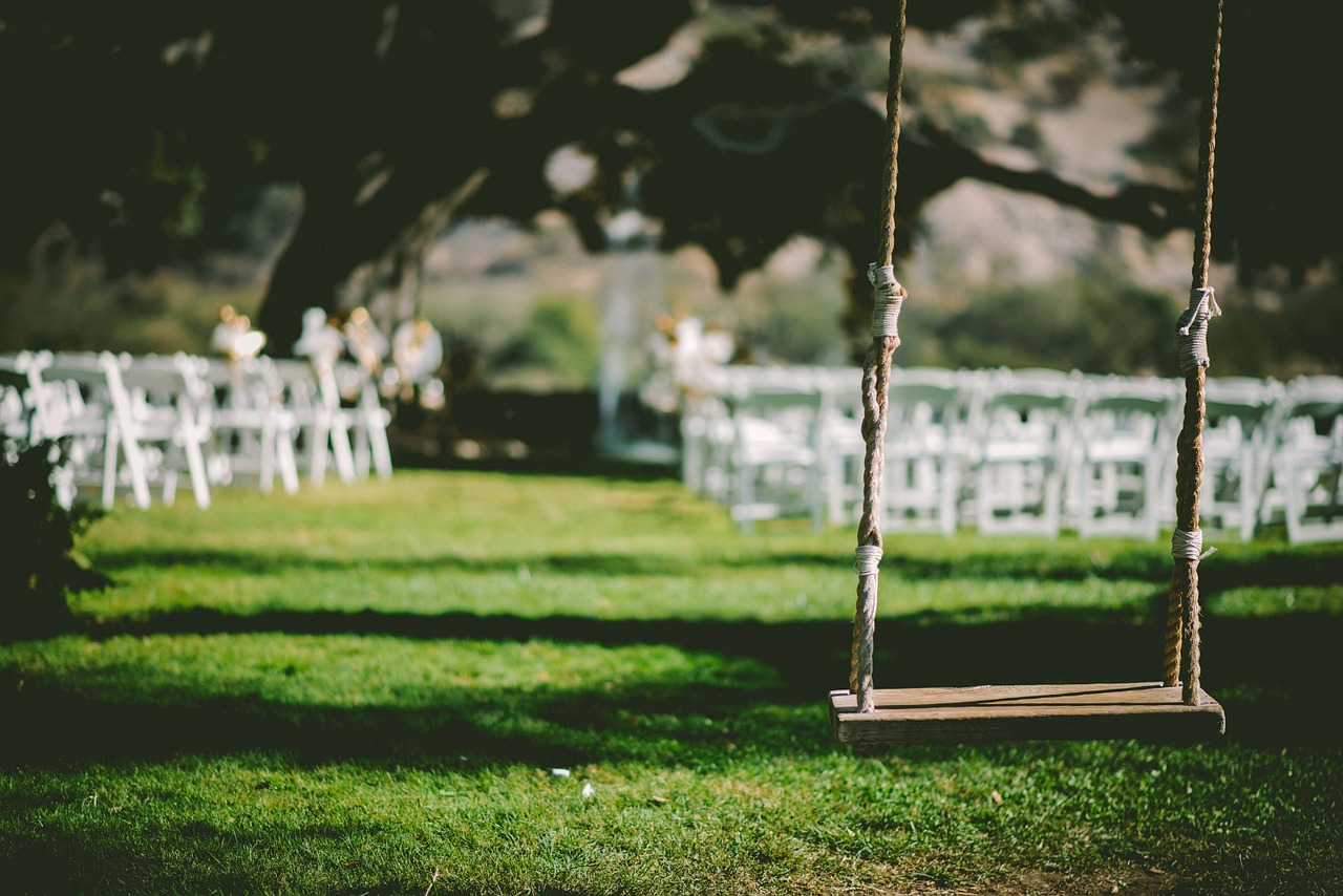 backyard wedding with swing