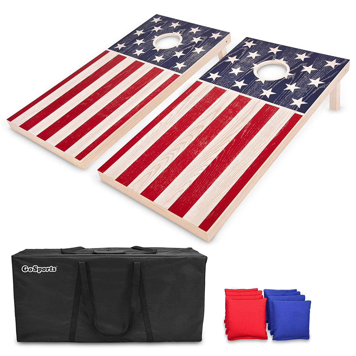 GoSports Flag Series Wood Cornhole Sets – Choose from American Flag, State Flags and More